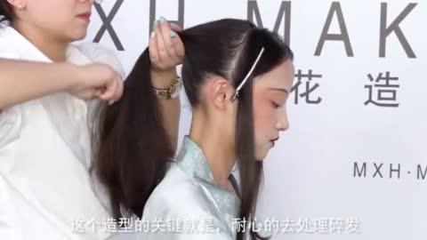 【汉服发型】非常挑战发际线的复原唐风造型,制作完成后,美到让人窒息!